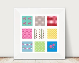 Shabby Chic Cross Stitch Patches, Instant Download, PDF, DMC Threads