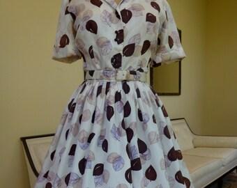 "Vintage 1950's Dress/Leaf Print Fit and Flare Dress/50's Full Skirt Day Dress/Mr. Ray/Shirt Waist Dress Full Skirt/27"" Waist/Small-Medium"