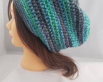 Multi colored slouch beanie, crochet slouch beanie, slouch hat