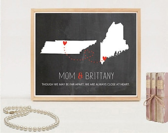 Mother and daughter print map - Custom Long distance mother daughter map chalkboard sign - DIGITAL FILE!