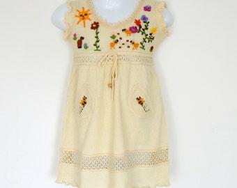 Girls cotton dress, Girl summer dress, Baby summer dress (Hand embroidered 100% organic)