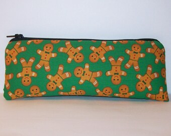 """Gingerbread Men, Pipe Pouch, Pipe Bag, Pipe Case, Pipe Cozy, Vape Pen Case, Holiday Gift, Festive Bag, Cute Pouch, Padded Pouch - 7.5"""" LARGE"""