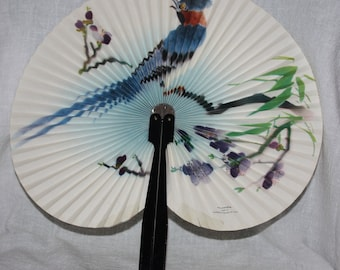Vintage Hand Held Fan Bird and Flowers China