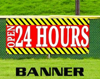 24 Hours Open Construction Road Traffic Vinyl Advertising Banner Sign