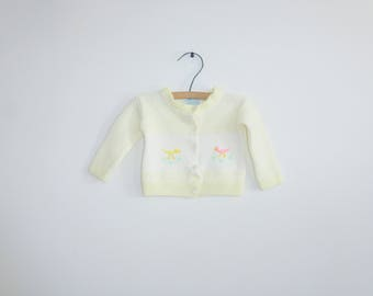 Vintage White and Yellow Baby Sweater