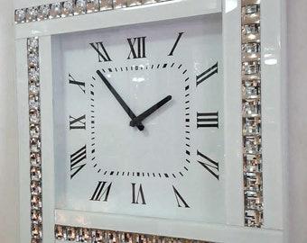 Modern Diamonte Crystal Mirrored Glass Square Wall Clock 45cm White Frame 918W