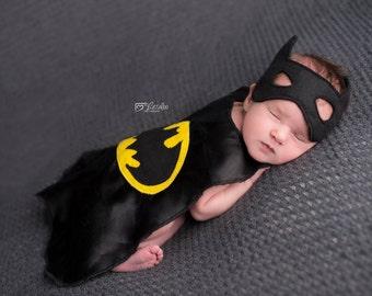 Infant Satin Cape Set, Photo Prop, Newborn photos, Batman Cape,
