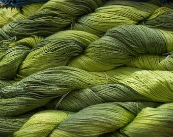 Fine Bamboo, Hand Painted yarn, 300yds - Lime Tonal