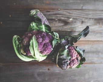 "Still life food photography rustic kitchen farmhouse print purple green dark gray wood ""Purple Cauliflower"""