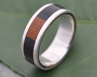 Size 9.5 READY TO SHIP Tres Cuadros Wood Ring - ecofriendly wedding ring recycled sterling silver, mens wood wedding ring, wood band