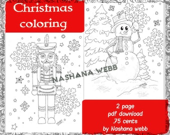 Christmas coloring page,adult coloring page,2 page pdf download......Nashana Webb