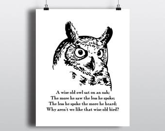 Wise Old Owl Quote Print, Black and White Owl Illustration, Bird Art, Instant Digital Download, DIY Home Decor