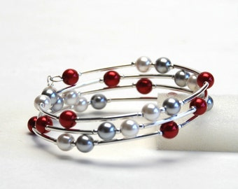 Red Pearl Memory Wire Bracelet - Red and White Bracelet