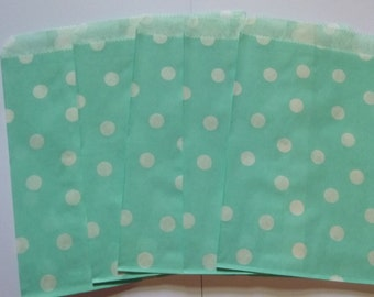 "25 Light Blue with White Polka Dot Paper Treat Bags- Baby Shower Bitty Bags- Bridal Shower Gift Bag- Candy, Treats, Utensil Baggy- 5"" x 7"""