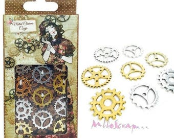 Set of 12 gold and silver charms gears scrapbooking cardmaking 1 (ref.110) *.