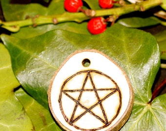 Cornish Holly Wood Pentagram Pendant on a Cord - Pagan, Wicca, Witchcraft, Pentacle