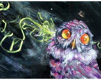 Owl Art Print - Mixed Media Art - Surrea Art - The Troof by Black Ink