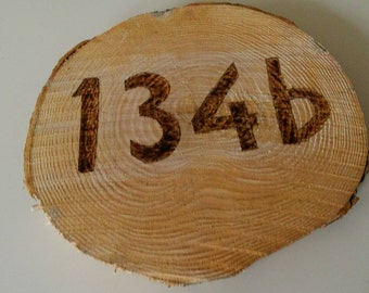 Wood Disc with house number