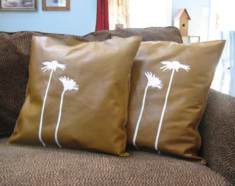 Decorative Home Decor, Square Leather Pillows, Flower Applique, Nature Inspired