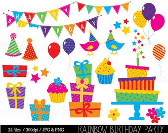 Birthday Clipart, Birthday Clip art, Bunting Clipart, Birthday Party, Birthday Cake, Invitation - Commercial & Personal - BUY 2 GET 1 FREE!