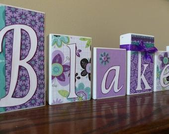 Baby Name Blocks - Personalized Name  Blocks - Flower Baby Name Nursery - Little Girl Wood Letters - Custom Name Blocks - Girl Bedroom Decor