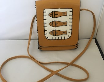 Vintage Mustard Yellow Leather Cross Body Purse with White Fish
