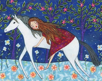 Fairytale Horse Painting Art Block Print