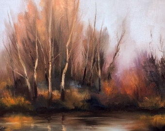 """Tonalist Landscape Painting Birch Trees Original OIL Painting by CES -  Trees Forest Tonalism Impressionist Birch Tree Creek Water ART 12x9"""""""