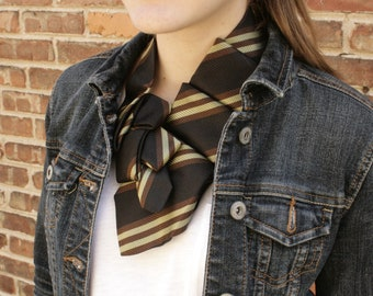 Womens Necktie Scarf - Necktie Necklace - Hipster Clothing - Black and Green Striped Lauren Scarf. 42