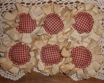 Primitive Burgundy Homespun Fabric Flowers Ornies Bowl Fillers Set of 6
