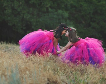 Hot Pink and Purple Reversible Long Tulle Tutu Skirt - newborn through girls 12 - photography prop, flower girl, birthday party