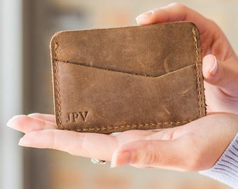 Personalized Slim Front Pocket Wallet, Men's Cardholder, Minimalist Wallet, Distressed Leather Cardholder, Perfect Gift - Clay | Sand Brown