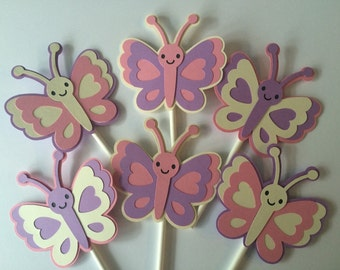 24 Butterfly Cupcake Toppers