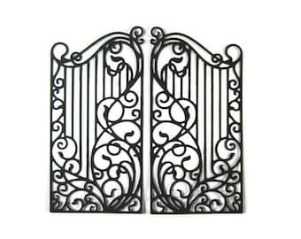 Large Detailed Wrought Iron Fence Paper Die Cut Set of 4 (8 total pieces)