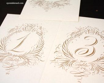 LARGE TABLE CARD  Calligraphy script wedding dinner wreath escort s
