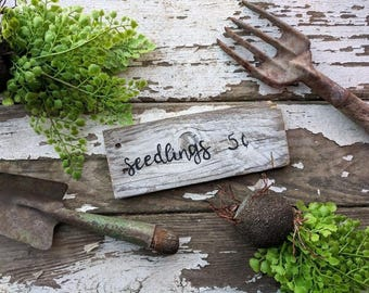 Seedlings barn wood sign