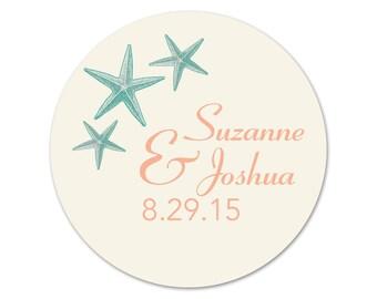 Personalized Beach Wedding Stickers - Favor Labels - Custom Starfish Stickers - Personalized Labels - Custom Beach Favors - Wedding Stickers