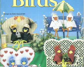 Sweetheart Birds ~ plastic canvas book ~ Soft cover book ~ House of White Birches