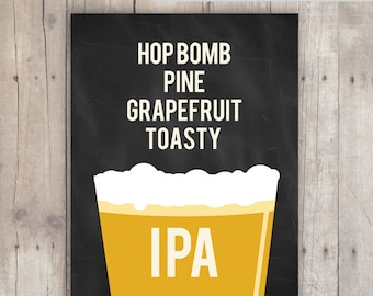 IPA Craft Beer Poster - Chalkboard Typography Print Gameroom Decor - 5x7 and 8x10 Instant Download Printable Poster