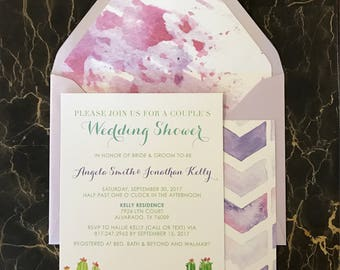 5x7 Water Color Cactus Desert Wedding Bridal Shower Invitation with Envelope & Envelope Liner. Also Available — Mad Lib Game and Recipe Card