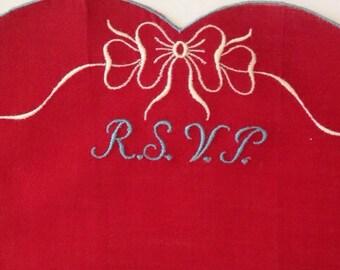 """Vintage Heart """"RSVP"""" HankieValentine's Day!"""