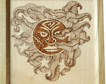 Woodburned Art Abstract Sun Framed Art Picture by CraftCrazy4U on Etsy