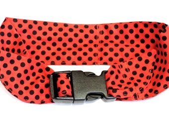 Pet Neck Cooler Bandana, Dog Cooling Collar, Fabric Heat Relief Stay Cool Neck Wrap Buckle Size Medium 14 - 18 inch neck, Red Black iycbrand