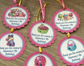 Shopkins party favor tags with ribbon - shopkins Party Favor Tags, Party favor tags, Birthday tags, shopkins birthday party set of 12