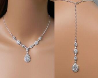 Back Drop Bridal Necklace, Wedding Backdrop Necklace, Y Necklace, Crystal necklace, Bridal Jewelry, Christine Bridal Necklace