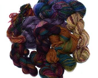 Mixed spun fibre - yarn - weaving - knitting - scrap - 100g / 3.5oz - TWIDDLY BITS