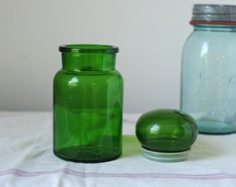 Vintage Emerald Green Bubble Top Apothecary Jar, Made in Belgium