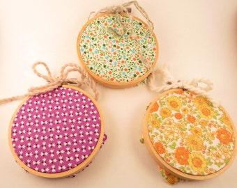 Three fabric art - Embroidery hoop hanging