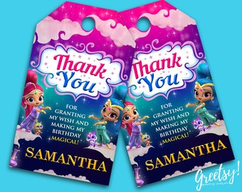 Shimmer and Shine Thank You Tags, Shimmer and Shine Birthday Favor Tags, Shimmer and Shine Party Tags, Shimmer and Shine Printable Supplies