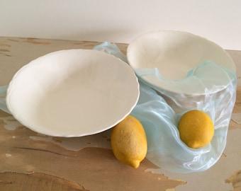 Set of 2 Vintage Scalloped Ironstone Vegetable Bowls